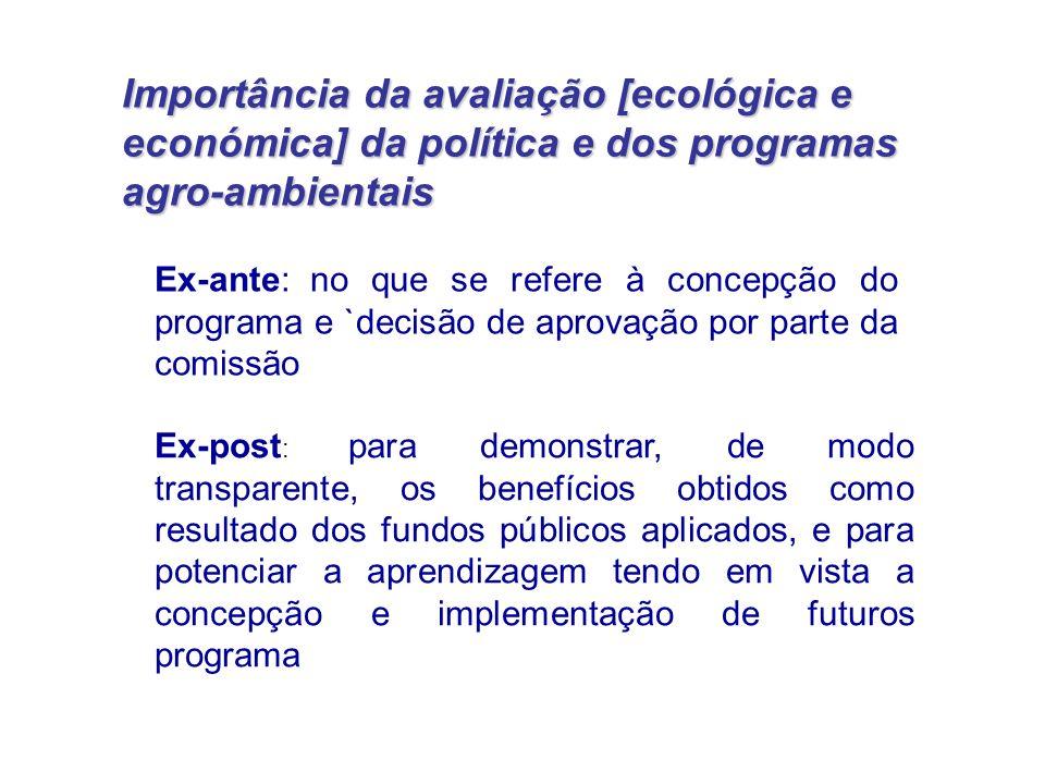Importância da avaliação [ecológica e económica] da política e dos programas agro-ambientais